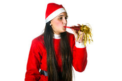 Woman dressed in santa claus with blower Stock Photos
