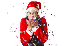 Woman dressed in santa claus Stock Photo