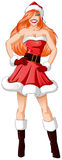 Woman Dressed In Santa Clothes For Christmas. A vector illustration of a red headed woman dressed in Santa Claus clothes for Christmas vector illustration