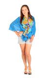 Woman dressed in shorts and pareo poses Stock Photo