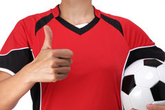 Woman dressed in soccer doing okay sign Royalty Free Stock Photos