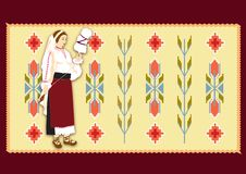 Woman dressed in traditional clothes. Over a rustic carpet background stock illustration