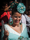 Woman dressed in the typical Spanish Flamenco Costume Stock Image