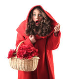 Woman dressed up as little red riding hood Stock Image