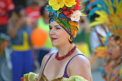 Woman dressed up for Edmonton's Cariwest festival Stock Images