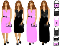 Woman dressed up with purse. Four different versions of a woman dressed up with purse. Six extra purses. Colors are black and pink. Very detailed royalty free illustration