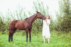 A woman feeds a horse. A woman dressed in a white dress, feeds a horse with a red apple Stock Photo