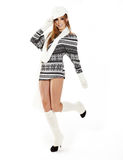 Woman dressed for winter, over a white backgro royalty free stock photo