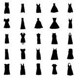 Woman dresses silhouettes set. Isolated on white background Stock Images