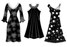 Woman dresses.Vector black silhouettes of clothes  Stock Photo