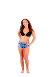 Woman dressing bikini and shorts Royalty Free Stock Photos