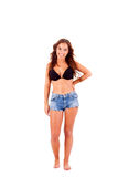 Woman dressing bikini and shorts Royalty Free Stock Photography