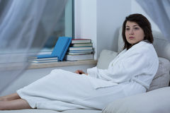 Woman in dressing-gown Stock Photos