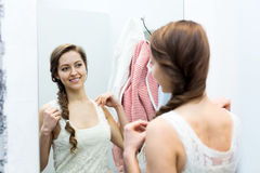 Woman in the dressing room Royalty Free Stock Photos