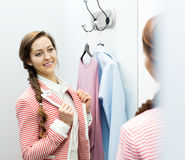 Woman in the dressing room Stock Images
