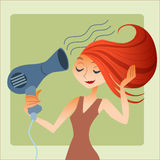 Woman dries hair. Young woman drying hair. Morning gathering for a date or a job stock photography