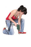 Woman and a drill Royalty Free Stock Images
