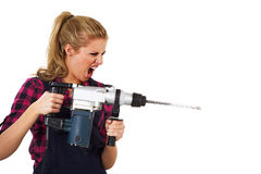 Woman with a drill Stock Photo