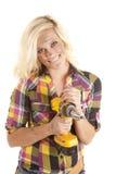 Woman drill happy Stock Photo