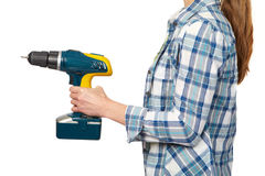 Woman with a drill. Royalty Free Stock Photo