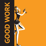 Woman with a drill. Leaning on good work sign royalty free illustration