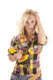 Woman drill stressed Stock Photo
