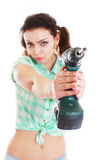 Woman with drill Stock Photography