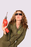 Woman with drilling machine Royalty Free Stock Photo