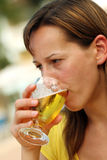 Woman dringink cold beer Royalty Free Stock Photo