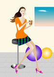 The woman drink. Summer, drink woman, at rest, to relax royalty free illustration
