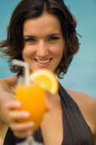 Woman With Drink Royalty Free Stock Photos