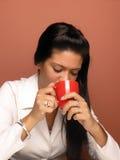 Woman drink coffee Stock Photo