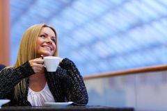 Woman drink coffee Stock Image