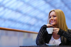 Woman drink coffee Stock Image