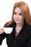 Woman drink coffee Royalty Free Stock Image