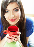 Woman drink coffee in bed. Stock Images