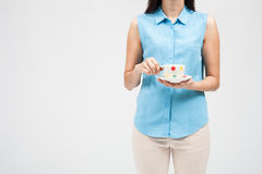 Woman drink coffee, hold coffee cup. Royalty Free Stock Image