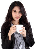 Woman drink coffee. Image of asian business woman drinking coffee on white background Royalty Free Stock Images