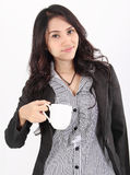 Woman drink coffee. Image of asian business woman drinking coffee on white background Stock Photos