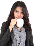 Woman drink coffee. Image of asian business woman drinking coffee on white background Stock Image