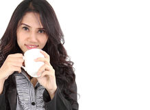 Woman drink coffee. Image of asian business woman drinking coffee on white background Stock Images