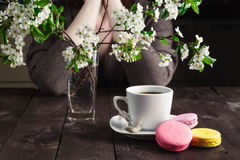Woman drink coffee and thinking about life Stock Images
