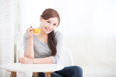 Woman drink green tea Royalty Free Stock Photography