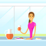 Woman Drink Juice Sitting at Kitchen Morning Stock Photo