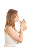Woman drink juice with tube Royalty Free Stock Photography