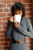 Woman drink latte Stock Photography