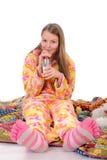 Woman drink milk Royalty Free Stock Image