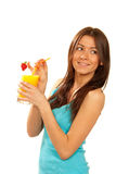 Woman drink orange juice cocktail Stock Photography