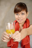 Woman drink orange juice after exercise Stock Photo