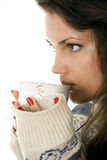 Woman drink tea from big white cup Stock Photo